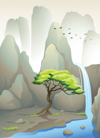 illustration of a beautiful waterfall and mountains Vector