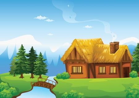 illustration d'une maison et un pont dans la belle nature