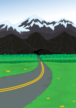 illustration of a mountain and road in a beautiful nature Stock Vector - 15864177
