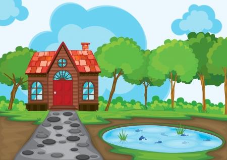 방갈로: 아름다운 집과 연못의 그림