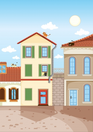 illustration of a peaceful house colony and cats Vector