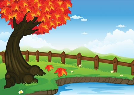 illustration of a tree in a beautiful nature Vector