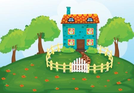 beaux paysages: illustration d'une maison dans une belle nature