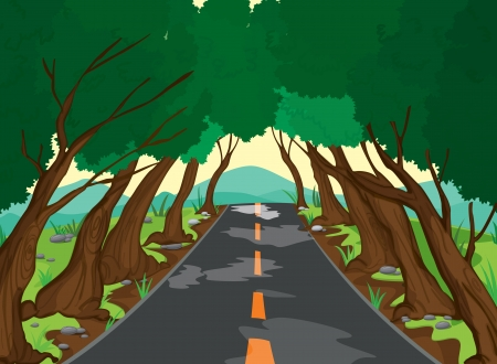 rural road: illustration of a trees and road in a beautiful nature