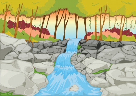 rocks water: illustration of a waterfall in a beautiful nature
