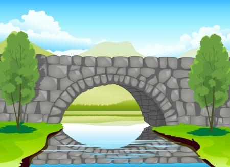 arboles de caricatura: ilustraci�n de un madeup hermoso puente de piedra