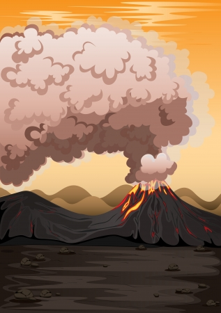 pink smoke: illustration of a volcano and hot red magma