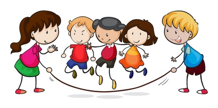 skipping rope: illustration of kids playing on a white background