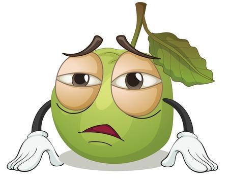 guayaba: ilustraci�n de una manzana verde sobre un fondo blanco