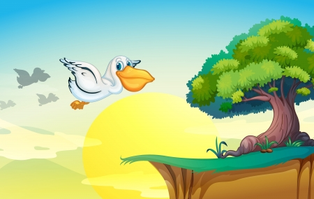 cartoon land: illustration of a pelican flying in nature