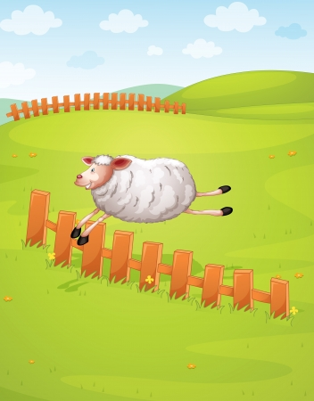 illustration of a sheep jumping in green farm Vector