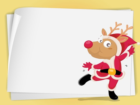 illustration of reindeer and paper sheets on a white Vector