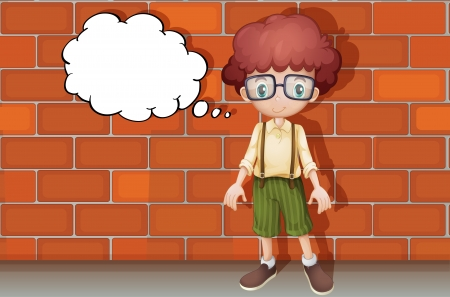 kids glasses: illustration of a boy thinking near a wall