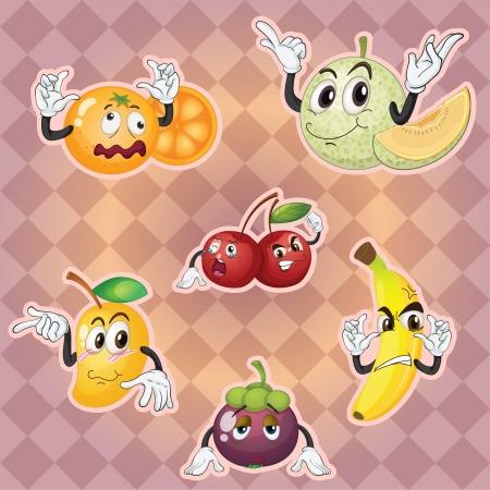mango slice: illustration of various fruits on purple background Illustration