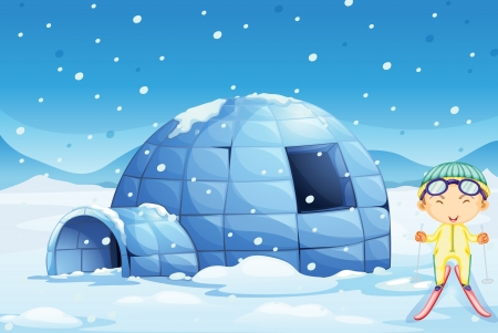illustration of an igloo and a boy in nature