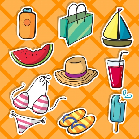 stickers: illustration of various objects on a yellow background