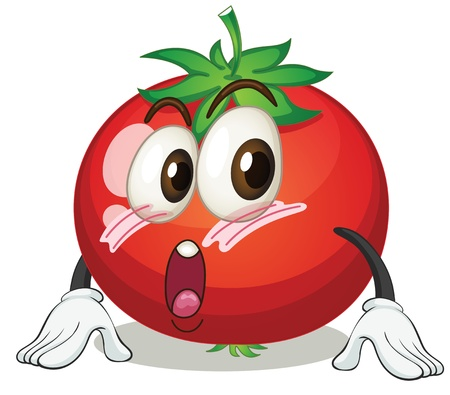 funny tomatoes: illustration of an apple on a white background Illustration