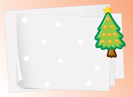one sheet: illustration of paper sheets and christmas tree