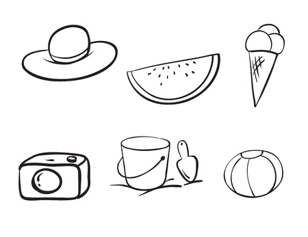 detailed sketches of various objects on a white Vector