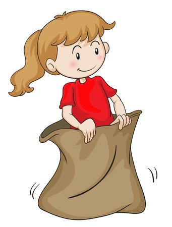 childrens playing: detailed illustration of a girl in a sack on white