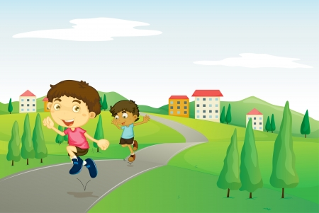 two roads: illustration of kids playing in green nature