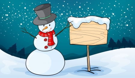 snowman wood: detailed illustration of a snowman in snow land