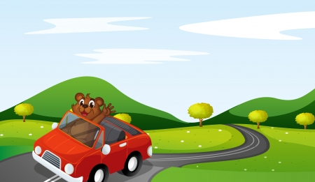 bush babies: illustration of a tiger cub in a car in nature