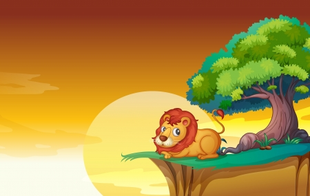 greenary: illustration of lion in a beautiful nature Illustration