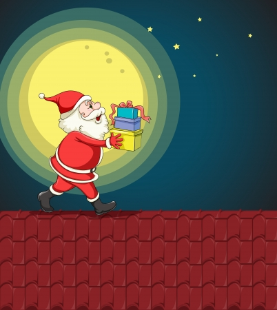 twinkling: llustration of santa claus and gifts in night
