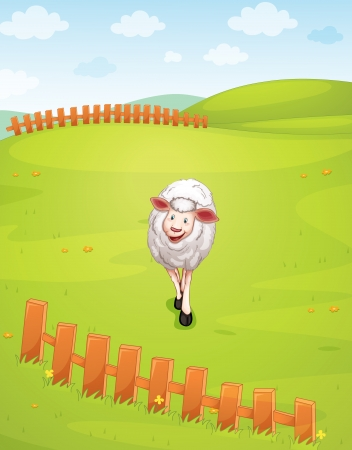 llustration of sheep in a beautiful nature Vector