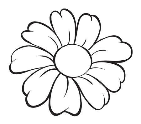 outline flower: illustration of flower sketch on white background