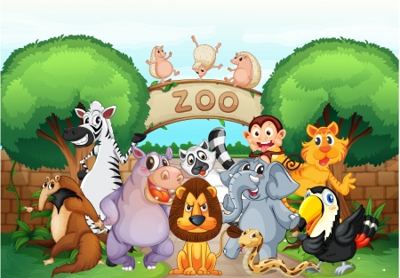 cartoon zoo: illustration of zoo and animals in a beautiful nature