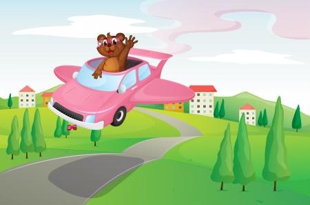 nutria caricatura: ilustraci�n de una nutria en un coche en la carretera