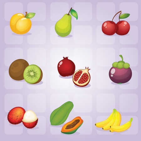 lychee: illustration of various fruits on purple background Illustration