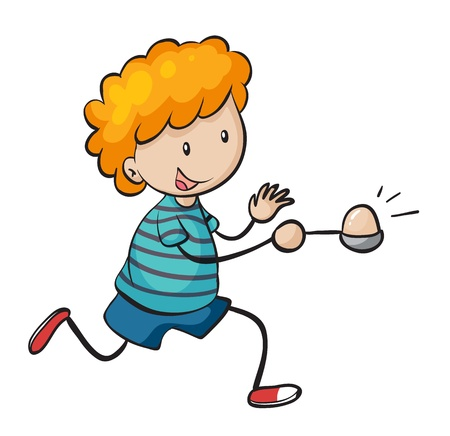 playing with spoon: illustration of a boy on a white background