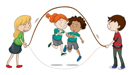 saltar la cuerda: Ilustraci�n de un ni�os sobre un fondo blanco