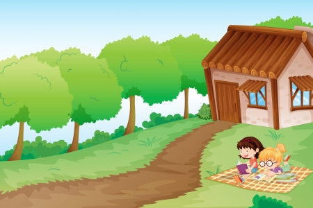 assignments: illustration of a girls and house in a beautiful nature
