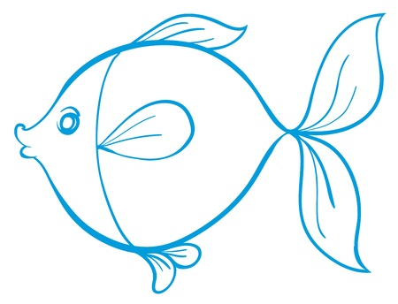 outline drawing of fish: detailed illustration of a fish outline Illustration