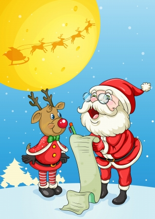 llustration of santa claus and reindeer in night Vector