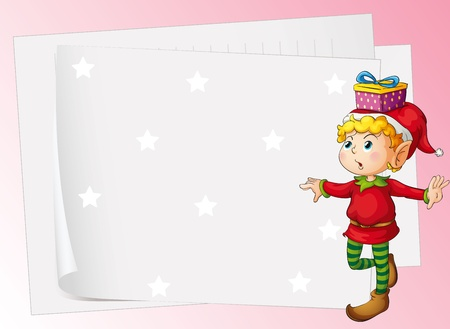 illustration of paper sheets and boy on a pink background Vector