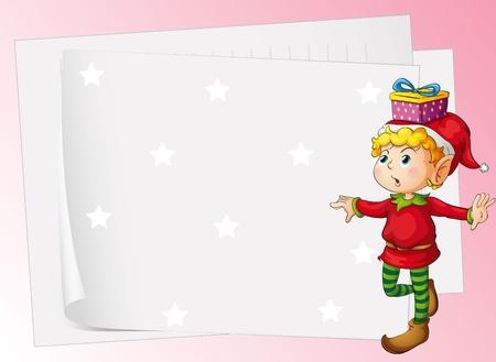 santa helper: illustration of paper sheets and boy on a pink background