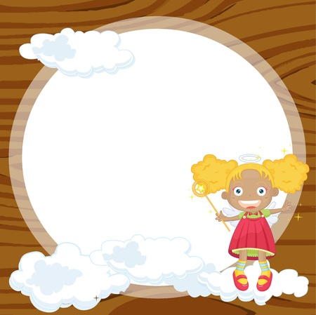 angel girl: illustration of a girl and window in yellow background Illustration