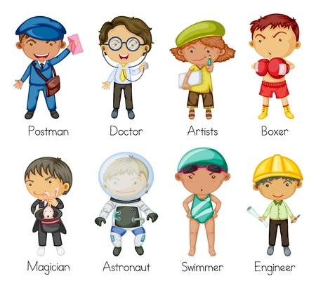 female engineer: illustration of a kids on a white background Illustration
