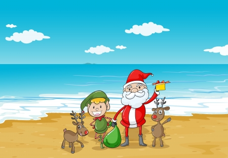 santa cap: illustration of a  boy, a santa claus and a sea in a beautiful nature