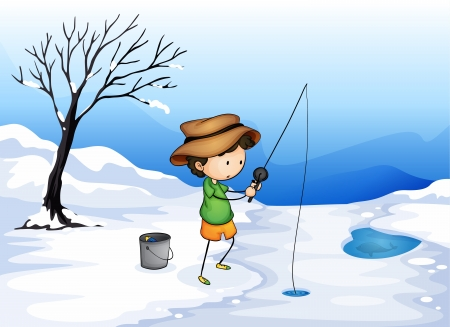 ice fishing: illustration of a boy in a beautiful nature