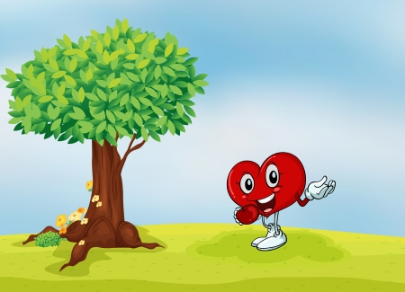 greenary: illustration of a heart and a tree in a beautiful nature Illustration