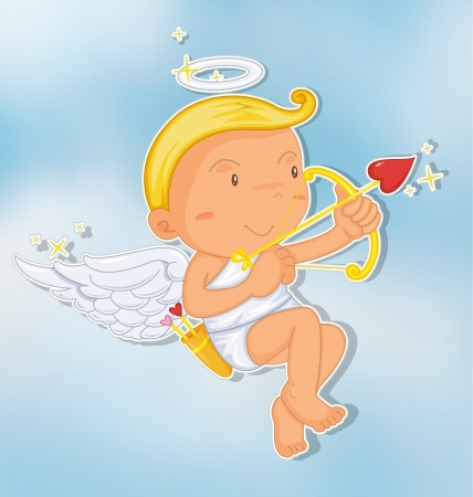illustration of an angel in a beautiful sky Vector
