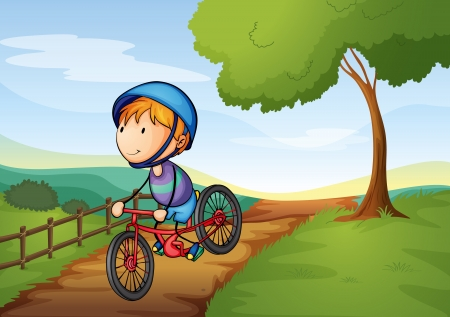 ride: illustration of a boy and a bicycle in a beautiful nature