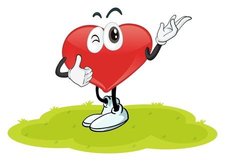 cuore nel le mani: illustrazione di un cuore in una natura bellissima Vettoriali