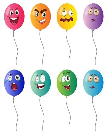 expresiones faciales: ilustraci�n de globos en el fondo blanco